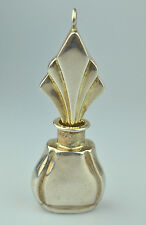 LARGE HEAVY STERLING SILVER ART DECO STYLE PERFUME BOTTLE PENDANT FOR NECKLACE