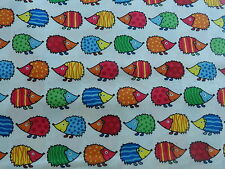 Multi Coloured HEDGEHOG Childrens 100% Cotton Fabric Material by HALF METRE