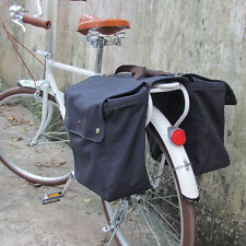 Tourbon Bike Double Panniers Bicycle Bag Rolled-Up Rear Seat Tail Vintage Canvas