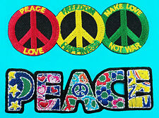 2 Lot COLORFUL Peace Love Hippie Biker Embroidered Iron Sew on Patch Fancy Color