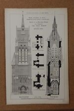 Antique Architects print royal Academy of Arts Church Tower Prize design