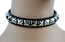 Black Patent PVC Leather Pyramid Stud Choker Necklace Goth Punk Emo Metal Lolita