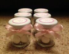 Personalised Miniature Jar Christening/ Baby Shower Favours x 20 in Pink theme