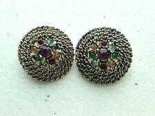 Vintage Rockabilly Judy Lee signed Coil rope round rhinestone clip earrings