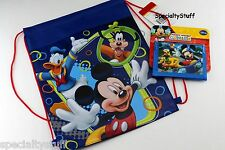 2 NEW DISNEY MICKEY MOUSE NON WOVEN SLING BAG & MICKEY WALLET BILLFOLD 1 EACH