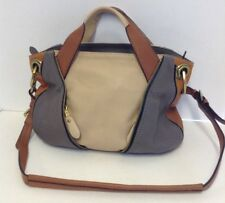 "orYANY ""LIAN"" COLOR BLOCK SAND/ GRAY/TAN PEBBLED LEATHER SATCHEL HANDBAG"