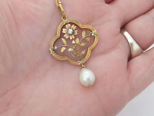 18ct gold Diamond & Pearl French 19th century Art Nouveau pendant on chain,750