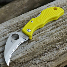 Spyderco Ladybug 3 Salt Yellow FRN Handle H1 Hawkbill Keyring Knife LYLS3HB