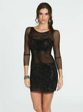 Sexy Black Sheer Mesh Beaded Embellished Sparkly Shimmer Sequin Dress XS Jovani