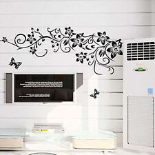 Schwarz Wandaufkleber Schmetterling Blumen Wandtattoo Kinderzimmer Sticker PVC