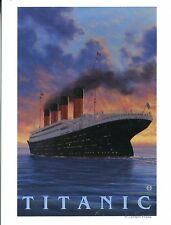 POST CARD OF A VINTAGE TRAVEL POSTER FOR THE OCEAN LINER TITANIC