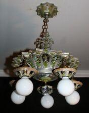 Antique art deco polychrome original colors light fixture chandelier ISCO