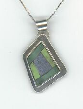SIERRA STERLING SMALL BIRD BLUE & GREEN STONE HANDCRAFTED NECKLACE 925  1130
