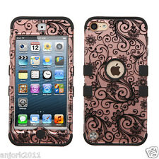 Clover Flower/Rose Gold Shockproof Cover Dual Layer Case for iPod Touch 5 / 6