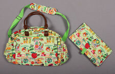 OILILY V-Happy Fruit Print Green Diaper Bag & Changing Pad
