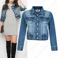 NEW WOMENS DENIM CROPPED JACKET DENIM JEAN WAIST LADIES FESTIVAL 6 8 10 12 14 16