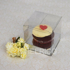 Cup Cake Box clear with Silver base - Hold 1 cupcake - 25 sets in a Pack