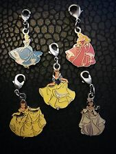 Vintage Fine Enamel And Silver, Hallmarked Disney Princess Charms. Collectable