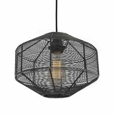 Pewter Vintage Style Industrial Cage Wire Metal Pendant Light - Round