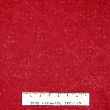 Tonga Batik Fabric - Cherry Red Diamond Medallion - Timeless Treasures YARD