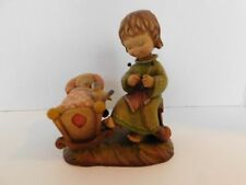"""Anri Italy Rock A Bye Girl Knitting And Rocking Cradle Figurine 6"""""""