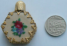 VINTAGE MINIATURE SCENT BOTTLE PERFUME PETIT POINT EMBROIDER FILIGREE GILT GLASS
