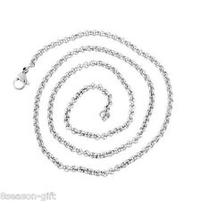 1PC Stainless Steel Silver Tone 3mm Square Rolo Chain Necklace 52cm