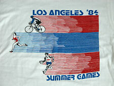 Vtg 80s 1984 Los Angeles SUMMER GAMES Thin T Shirt M DEADSTOCK Running Cycling