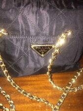 Small PRADA Vintage BLACK Vinyl quilted Shoulder  Bag With Gold Chain Strap