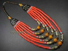 N4192 FASHION tribal strand glass amber resin beads bovine bone NECKLACE TIBET