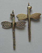 10 SILVER-PLATED DRAGONFLY CHARMS-Nickel/lead free-35mm
