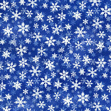 Snow Day Dark Blue 441 winter Quilt Fabric Snowflakes 1 yard remnant #4A