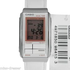 Casio LA201WBL-7A Women's Futurist White Leather Alarm Chronograph Watch 30M