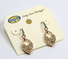 Fossil Pave Crystal Heart Earrings Stainless Rose-Gold Silvertone New With Tag