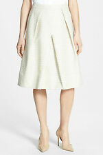 Classiques Entier Skirt A-line Size 0 Rope Tweed Stripe Tan Ivory New