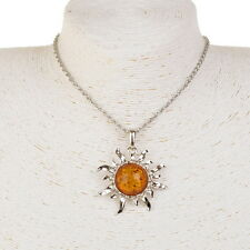 Carved Sun Flower Yolk Baltic Faux Amber Sweater Fancy Long Necklace Pendant
