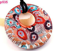 1pc coloful flower Lampwork Glass Necklace p535