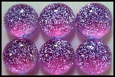 Lot of 6 TWINKLE Round LAVENDER Fused Glass DICHROIC Cabochons NO HOLE Beads