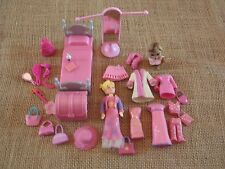 """Polly Pocket Lot """"Colors of the Rainbow"""" Pink Doll Furniture Clothes Pet X10"""