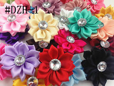 DIY MIX 5pcs Satin Ribbon Flower with Crystal Bead Appliques~Craft/Trim #11