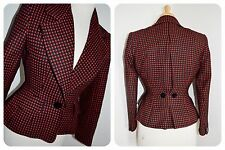 1940's style JACKET polka dot RED BLACK fitted WW2 BLITZ WINDSMOOR wool 10 12