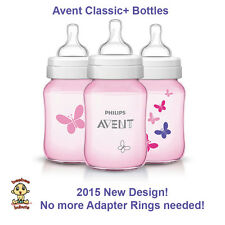 Avent Classic Plus Bottle, NEW 2015 DESIGN! 9 oz 3 pack pink butterflies