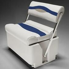 Premium Flip Flop Pontoon Boat Seats In Ivory, Blue and Tan