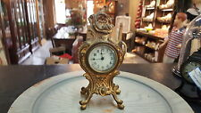ANTIQUE NEW HAVEN MANTLE CLOCK GOLD METAL
