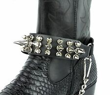 Biker Men Western Women Boots Silver Chains Leather Straps Spikes Gothic 112