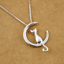 925 Silver Lovely Cat Moon Charm Pendant Necklace Chain Silver Jewelry