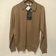 NWT $150 YVES SAINT LAURENT YSL Men's Lightweight Sweater Size Small Brown Gold