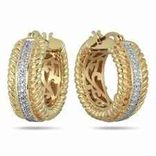 Hoop Earrings 14K Yellow Gold Finish 0.02 CT Diamond Round Braided Cuff