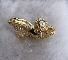 ST. JOHN Crystal Stone Gold/Black Shoes/Heels Flower Pin/Brooch
