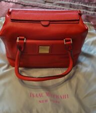ISAAC MIZRAHI HANDBAG RED LEATHER NEW
